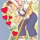 Vintage Valentine GARDEN Gardening RAKE UP LOVE