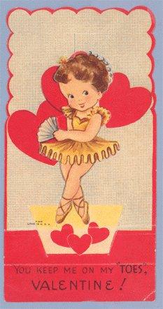 Vintage Valentine DANCER Ballerina POP UP On My Toes