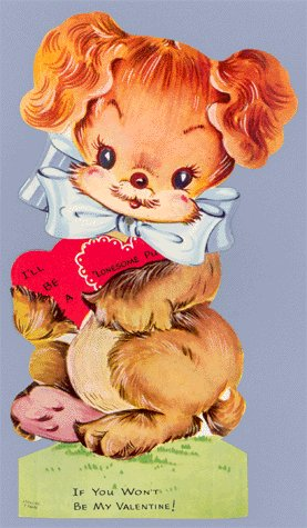 Vintage Valentine LONESOME PUP Mechanical Dog Card