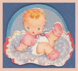 Vintage Baby INFANT Gift Tag and Seal Set