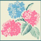 Vintage 1940s WRAPPING PAPER Pink & Blue Hydrangea