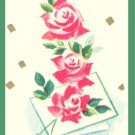 Vintage GIFT WRAP Wrapping Paper 1950s ANNIVERSARY Red Rose