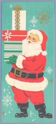 Vintage Christmas Card AMERICAN GREETINGS Santa with Gifts 1960s UNUSED