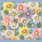 Vintage GIFT WRAP Wrapping Paper FLORAL Flowers DAISY Pastel Shades UNUSED