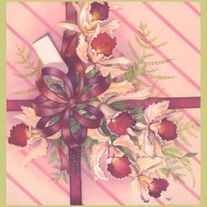 Vintage WRAPPING PAPER Scrapbooking ORCHID Bouquet