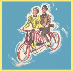 Vintage GIFT WRAP Scrapbooking OLD CAMERA Tandem Bike