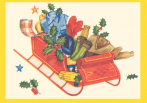Vintage GIFT WRAP Scrapbooking CHRISTMAS Sleigh 1950s WRAPPING PAPER