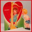 Vintage Valentine Card VALENTINE'S DAY 1940s HARP Music A-MERI-CARD