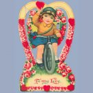 Vintage Valentine - Valentines Day Card 1920s BICYCLE Cloche Hat GOGGLES