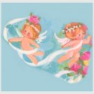 Vintage GIFT Wrapping Paper 1960s WEDDING Angels CUPIDS