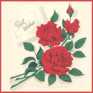 Vintage GIFT WRAP Wrapping Paper RED ROSES 1950s Best Wishes