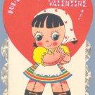 Vintage Valentine RAG DOLL Pul-l-e-e-z-e Be My 1950s