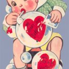 Vintage Valentine Card BLOWING BUBBLES Large Mechanical