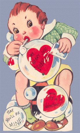 Vintage Valentine Card BLOWING BUBBLES Large Mechanical