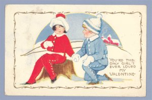 Vintage Postcard VALENTINE Carrington 1910s SNOW SCENE