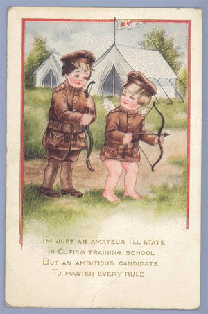 Vintage Postcard VALENTINE Whitney Made WWI Military