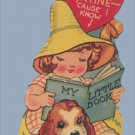 Vintage Valentine MY LITTLE BOOK I Picked You 1930s/1940s DOG Spaniel