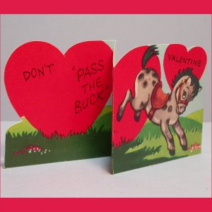 Vintage Valentine's Day Card PASS THE BUCK Standing Fold-Out