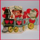 VTG Valentine's Day Card TRAIN On the Right Track 1960s