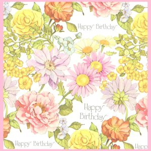 Vintage GIFT WRAPPING PAPER Wrap 1970s Floral Birthday AMERICAN GREETINGS
