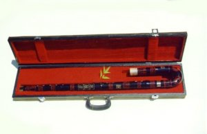 JY-412-Big Bass Bent Black Bamboo Flute W/T Single Copper Joint