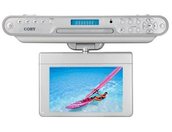 Coby KTFDVD7093 7-Inch Under-The-Cabinet LCD TV with Built-In DVD/CD Player and AM/FM Radio - Silver