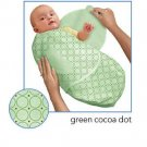 Kiddopotamus SwaddleMe blanket in Green Cocoa Dot - Small