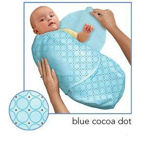 Kiddopotamus SwaddleMe blanket in Blue Cocoa Dot - Small
