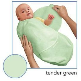 Kiddopotamus SwaddleMe blanket in Green Microfleece - Small