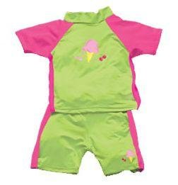 iPlay 2pc Sun Protective Suit w Diaper UPF 50 - 12m - LIME