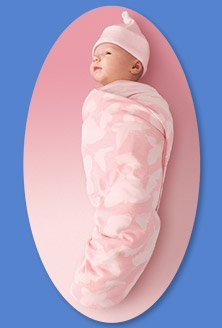 Kiddopotamus SwaddleSet blanket and matching cap - PINK