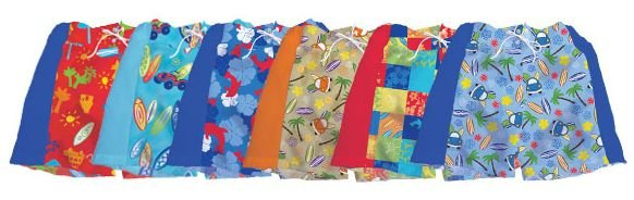 iPlay Hawaiian Board Shorts with swim diaper - 12m - RED