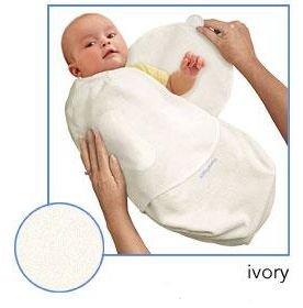 Kiddopotamus SwaddleMe blanket in Ivory Microfleece - Small