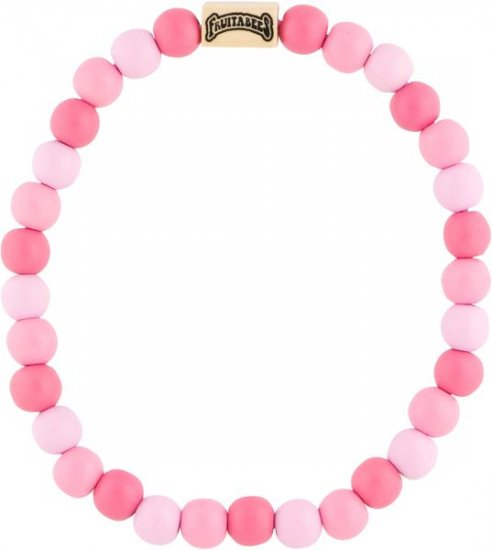 Fruitabees Wooden Bead Necklace - PINK GUMBALL