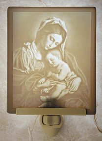 Madonna & Child Flat Lithophane Nightlight