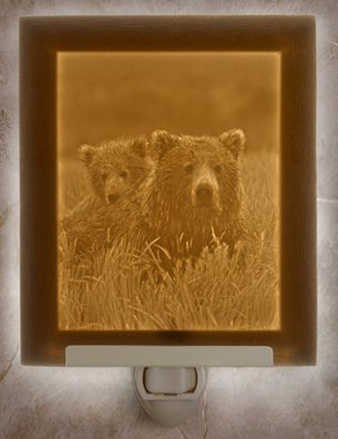 Mother & Cub Flat Lithophane Nightlight