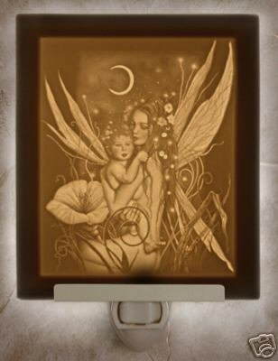 Crescent Moon Fairy Flat Lithophane Nightlight