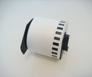 "DK2205 24 pack @ $6.00 per roll - 2-3/7"" x 100' label roll for Brother/Pitney Bowes thermal printer"