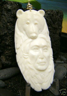 BROTHER BEAR CARVED BONE ANIMAL ALASKAN SPIRIT TOTEM PENDANT   FREE GIFTS!!