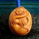 SWEET HAWAII MERMAID PENDANT MINIATURE HAND CARVED PEACH TREE WOOD   FREE GIFTS & USA SHIPPING