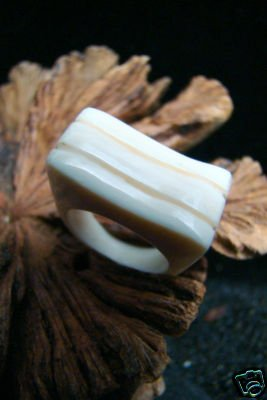 FOSSIL ALASKA MAMMOTH IVORY WAVY DESIGN RING SIZE 6.5  HAND CRAFTED FREE CLEAR RING BOX