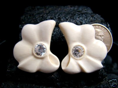 EARRINGS PIERCED FRENCH OMEGA STYLE - FOSSIL MAMMOTH IVORY W/ CRYSTAL CZ GEMSTONES