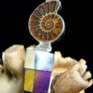 FOSSIL AMMONITE SHELL & NATURAL RAINBOW CRYSTAL STERLING SILVER PENDANT