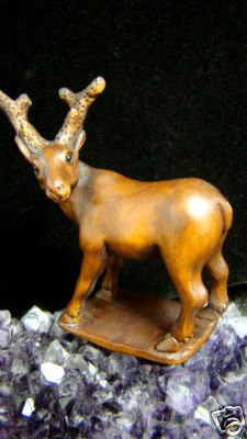 """ LITTLE XMAS HOLIDAY DEER ""  HAND CARVED KOA WOOD MINIATURE  FREE GIFTS & USA SHIPPING"