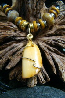 FOSSIL WALRUS TOOTH / IVORY & CORAL BEAD COPPER WIRE PENDANT / NECKLACE  *USA SHIPPING ONLY