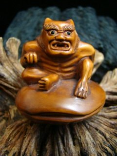 LITTLE DEVIL / DEMON ON SHELL  CARVED HAWAIIAN KOA WOOD  MINIATURE  FIGURINE