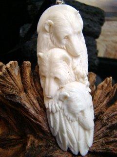3 ALASKAN BEAR ANIMAL SPIRIT TOTEM CARVED BONE PENDANT   FREE SATIN RIBBON SHIPPING & GIFT BOX