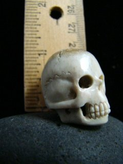 ANTIQUE ' MEMENTO MORI ' SKULL  NUNS RELIC FATHER DAMIEN HAWAII - HAND CARVED