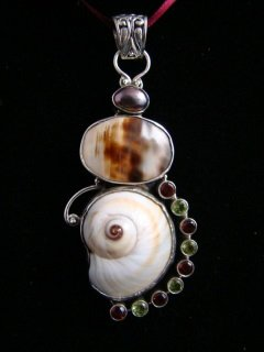SEA SHELL & GEMSTONES & PEARL STERLING SILVER PENDANT