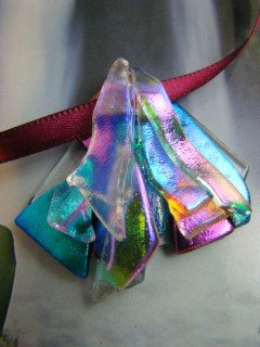 "DICHROIC GLASS  "" EVENING MIST  "" PENDANT WEARABLE ART HYPO-ALLERGENIC NO METAL"